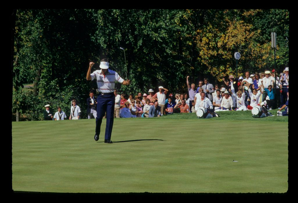 Larry Mize and the gallery are jubilant after a long putt drops at the 1987 Ryder Cup