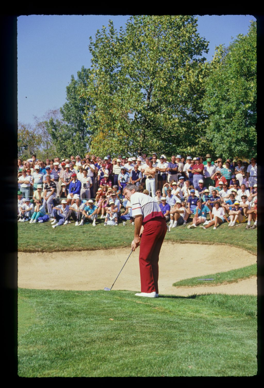 Curtis Strange chipping from the fringe at the 1987 Ryder Cup