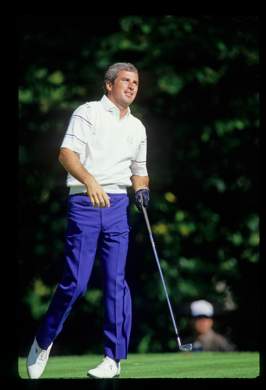 Curtis Strange looking anxious after an iron off the tee at the 1987 Ryder Cup