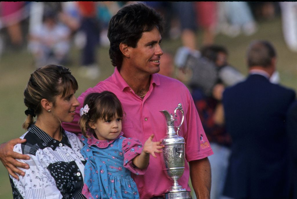 Ian Baker Finch with his wife, daughter and the Claret Jug after winning the 1991 Open Championship