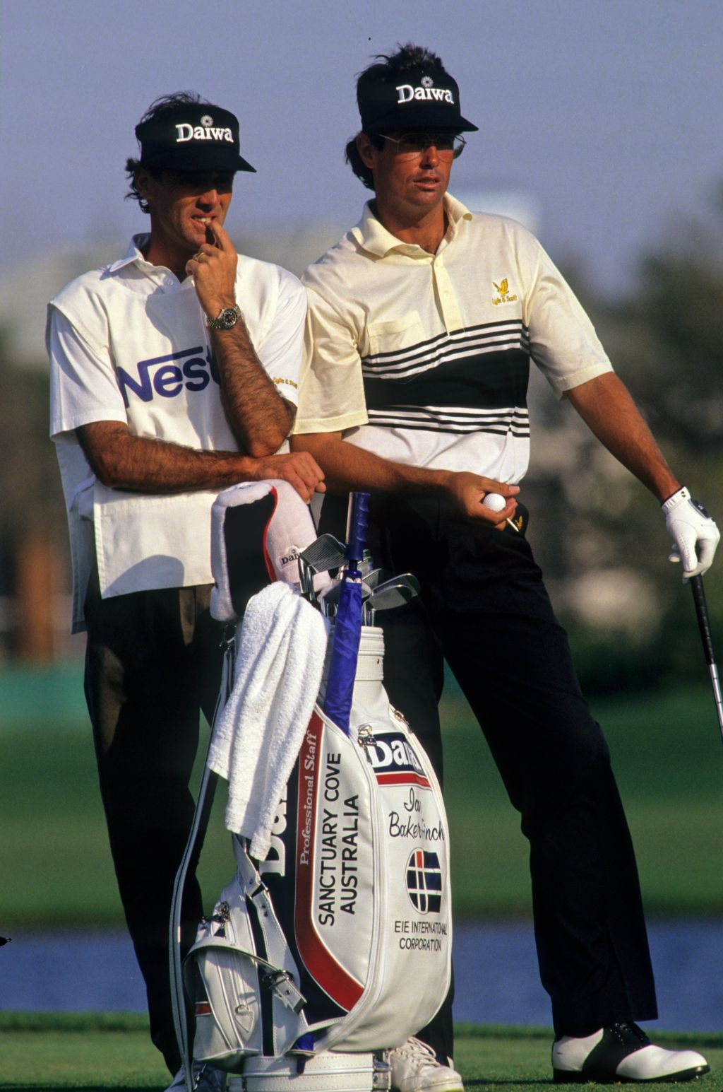 Ian Baker Finch and his caddie on the tee during the 1991 Nestle Invitational