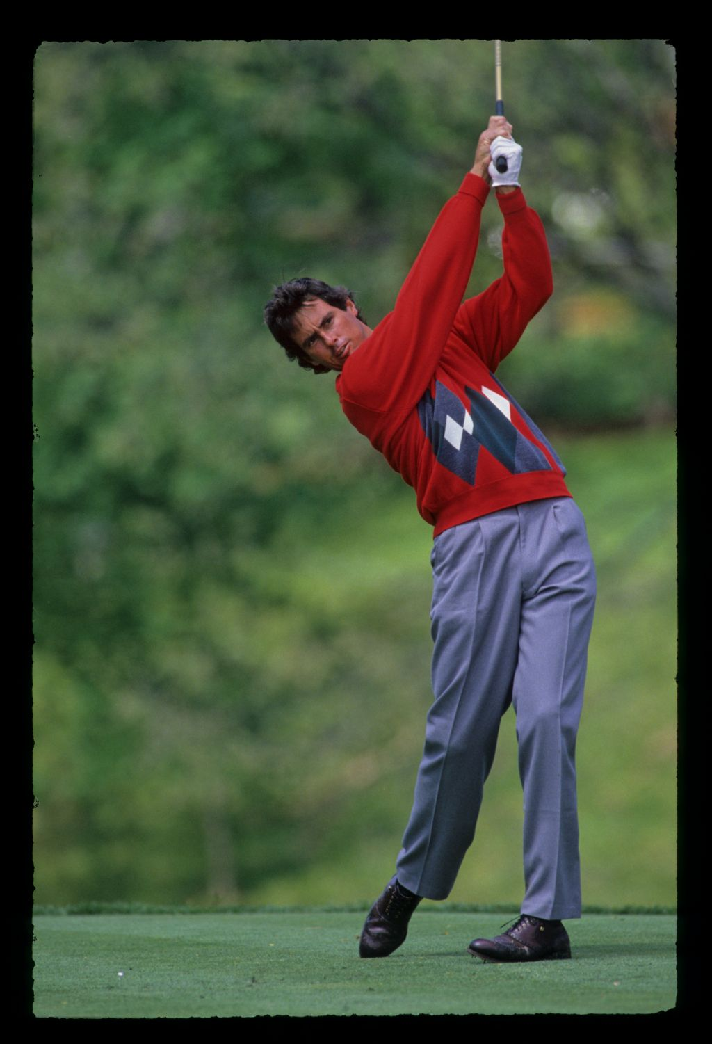 Ian Baker Finch, hands high on the tee during the 1989 Memorial Tournament