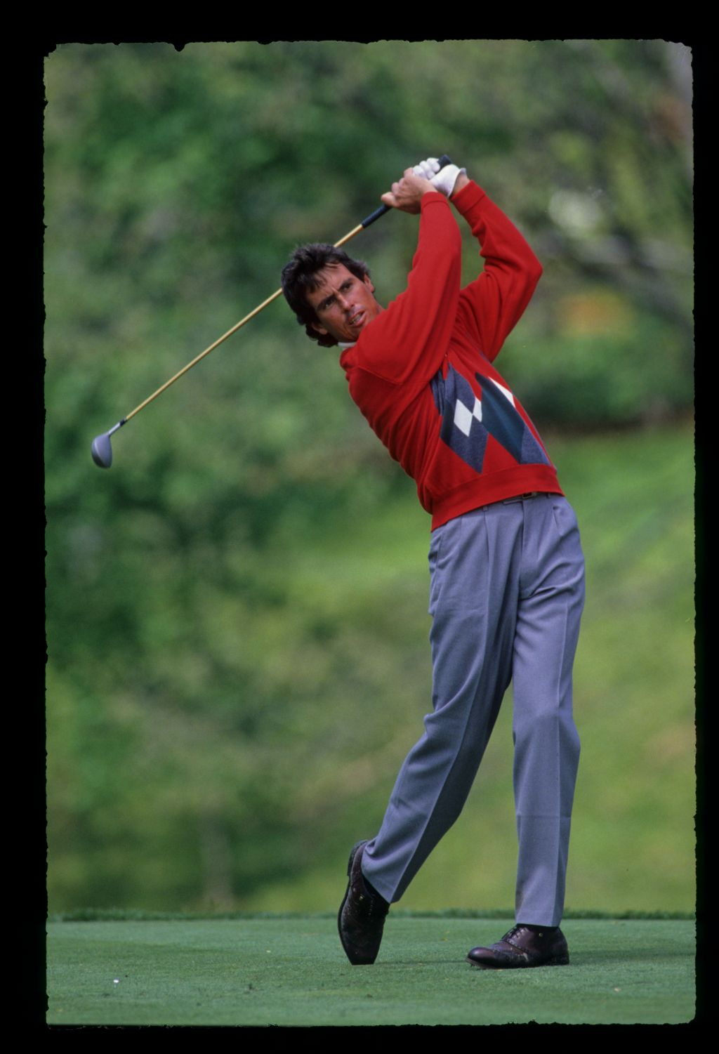 Ian Baker Finch hands high on the tee during the 1989 Memorial Tournament