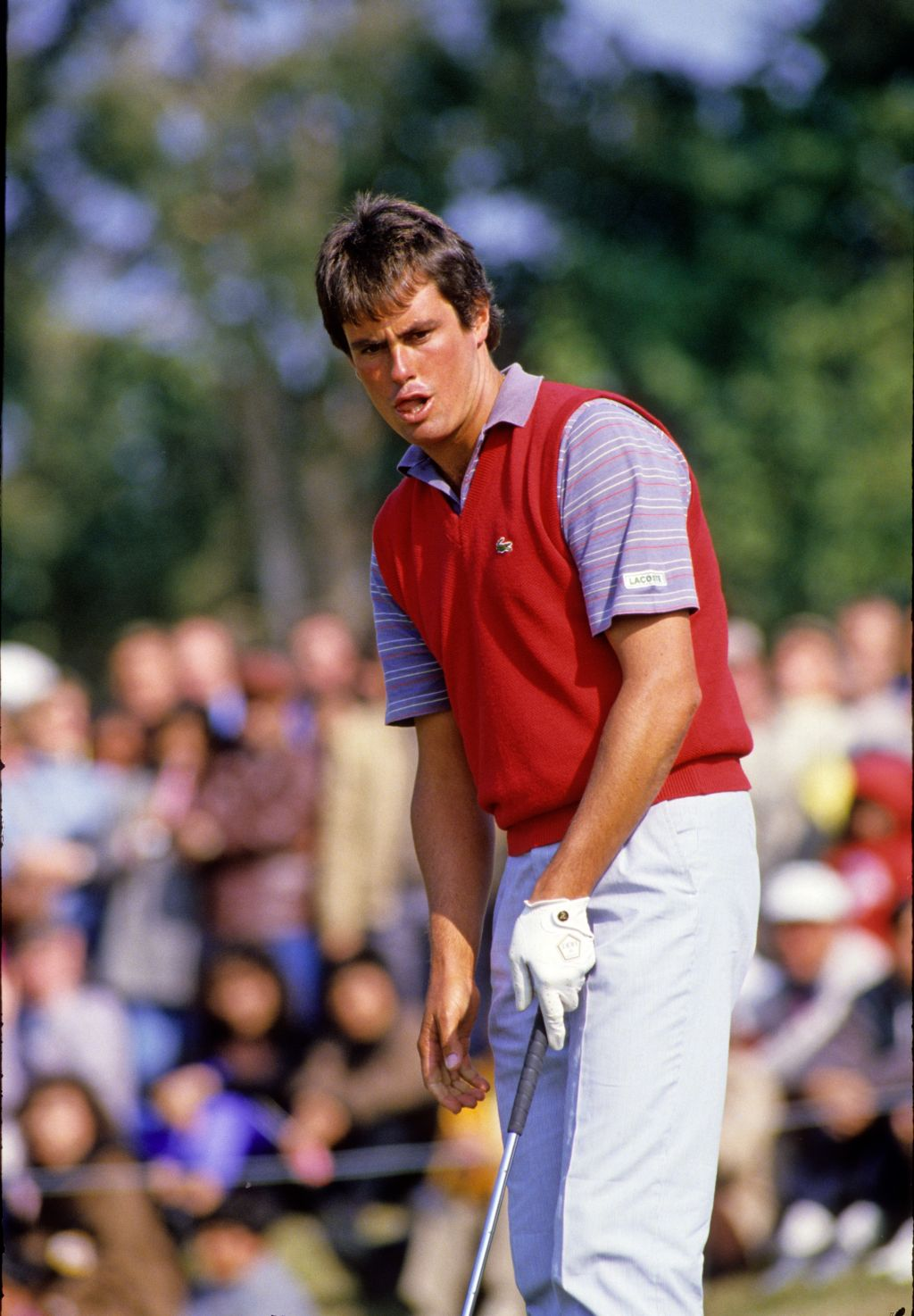 Ian Baker Finch watching his putt anxiously on his way to second place at the 1986 Hong Kong Open