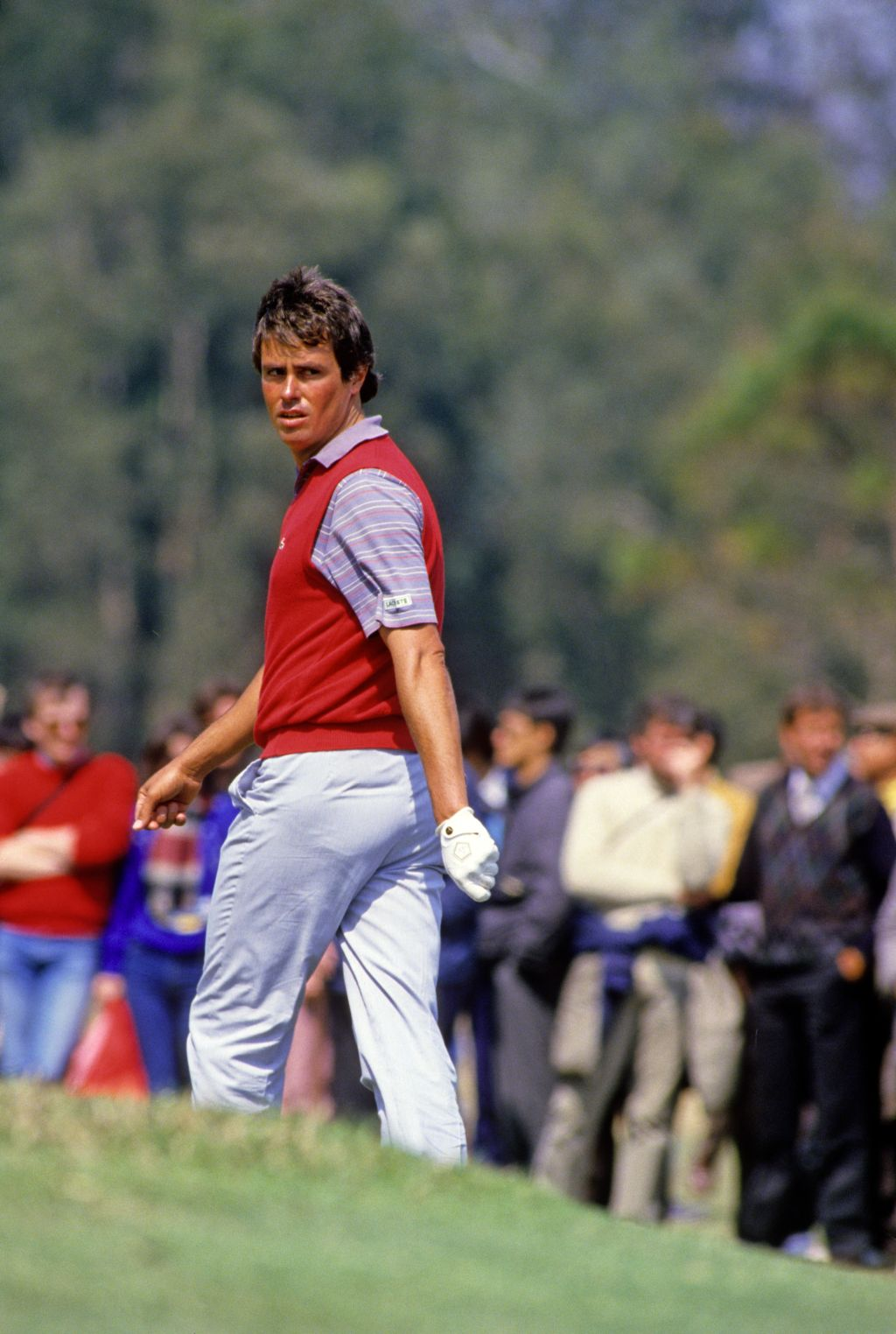 Ian Baker Finch looking back to the green in preparation of a chip on his way to second place at the 1986 Hong Kong Open