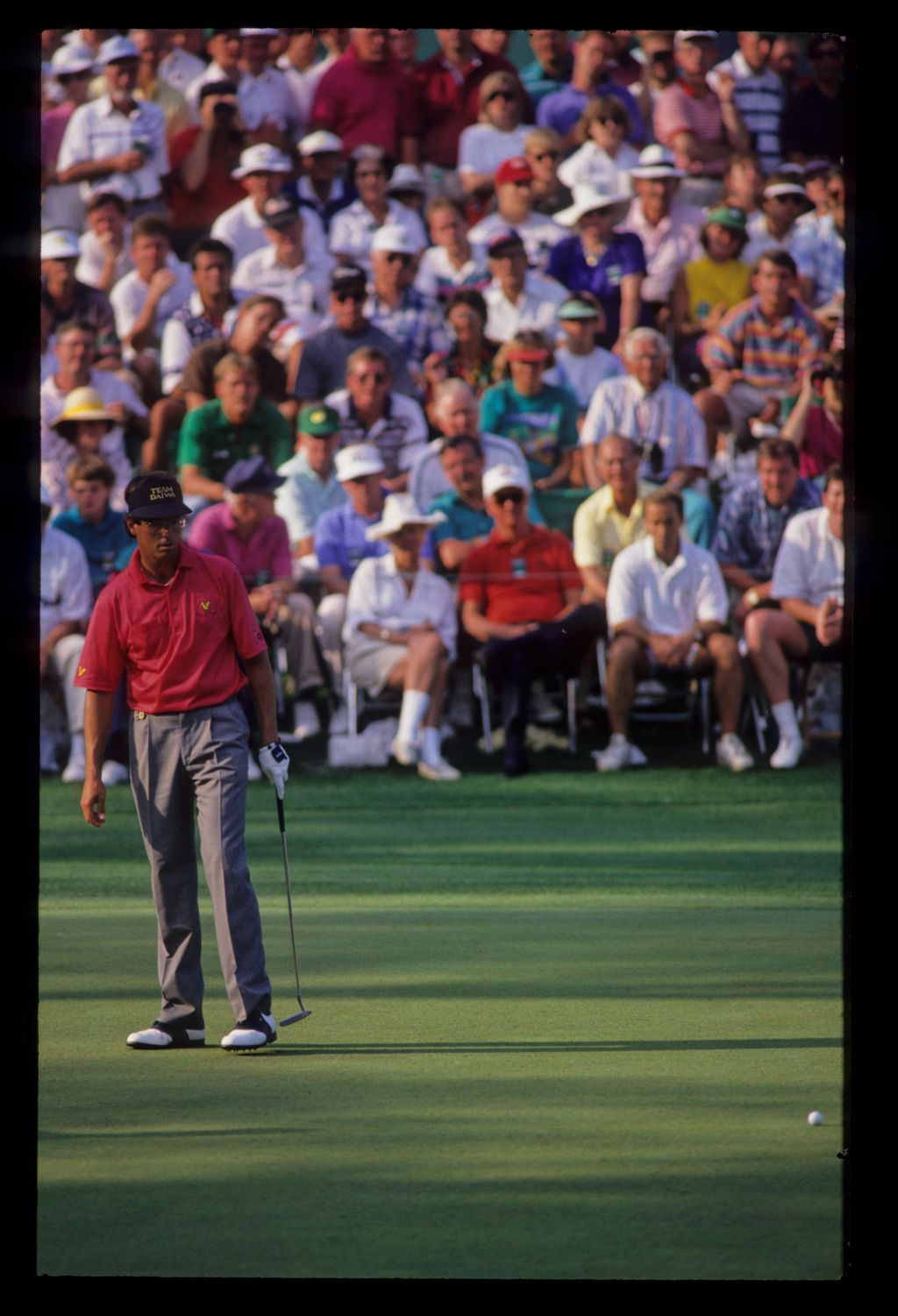 Ian Baker Finch leaving a putt on the lip during the 1992 Masters