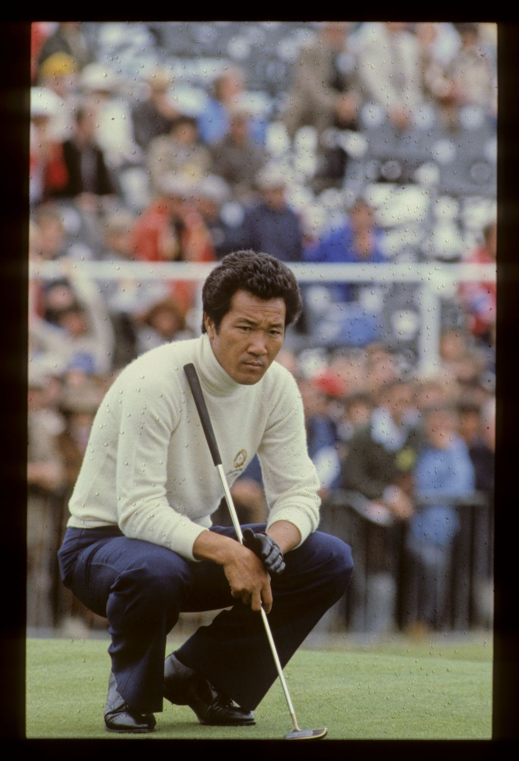 Isao Aoki on the green during the 1980 Open Championship