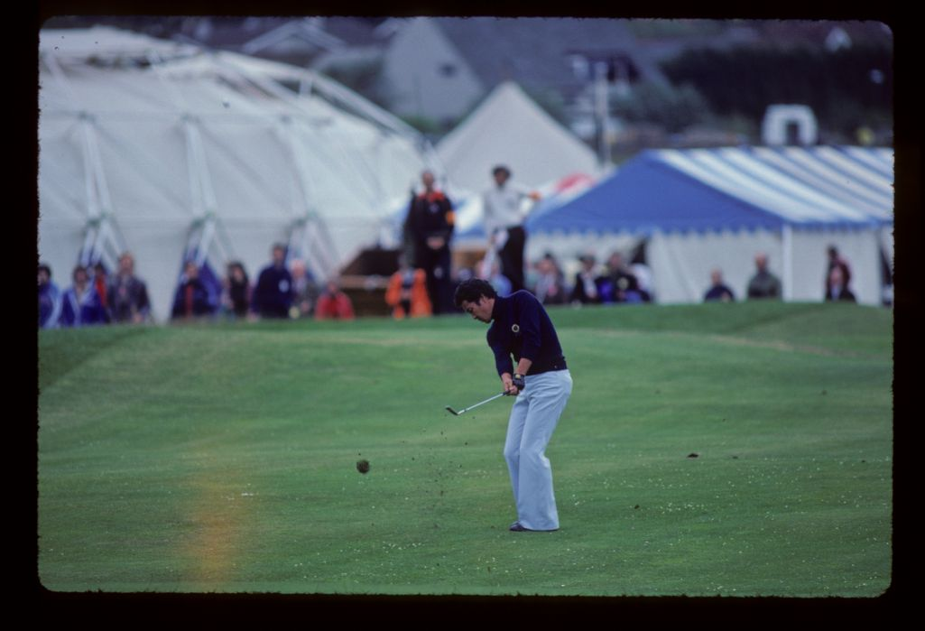 Isao Aoki hitting wedge from the fairway during the 1980 Open Championship