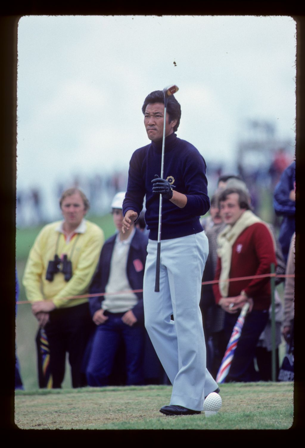 Isao Aoki looking determined on the tee during the 1980 Open Championship