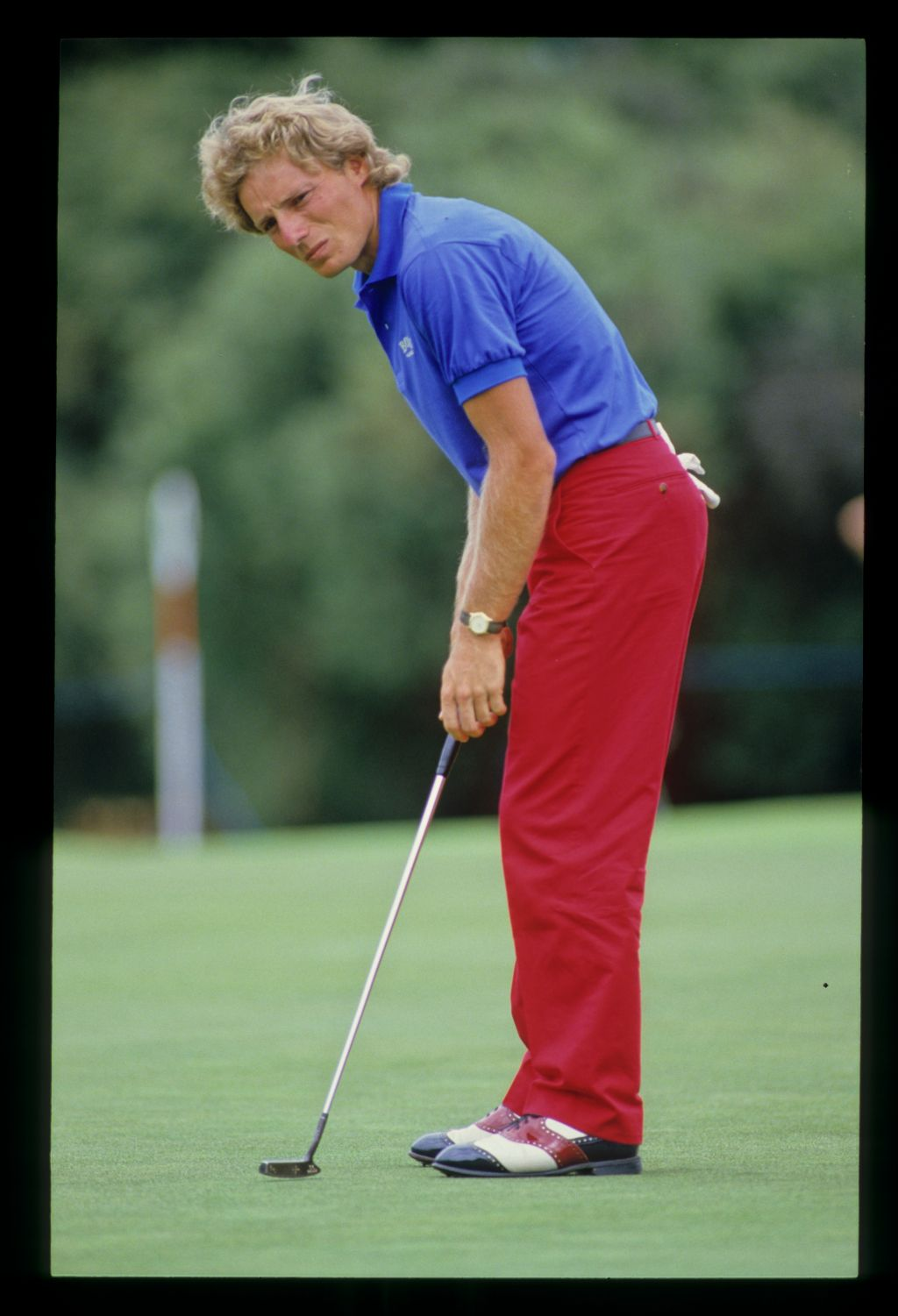 Bernhard Langer sending a putt on its way during the 1986 Australian Masters
