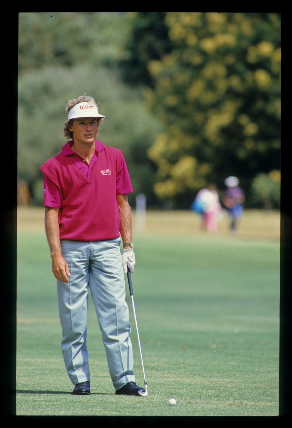 Bernhard Langer preparing to hit from the fairway during the 1986 Australian Masters