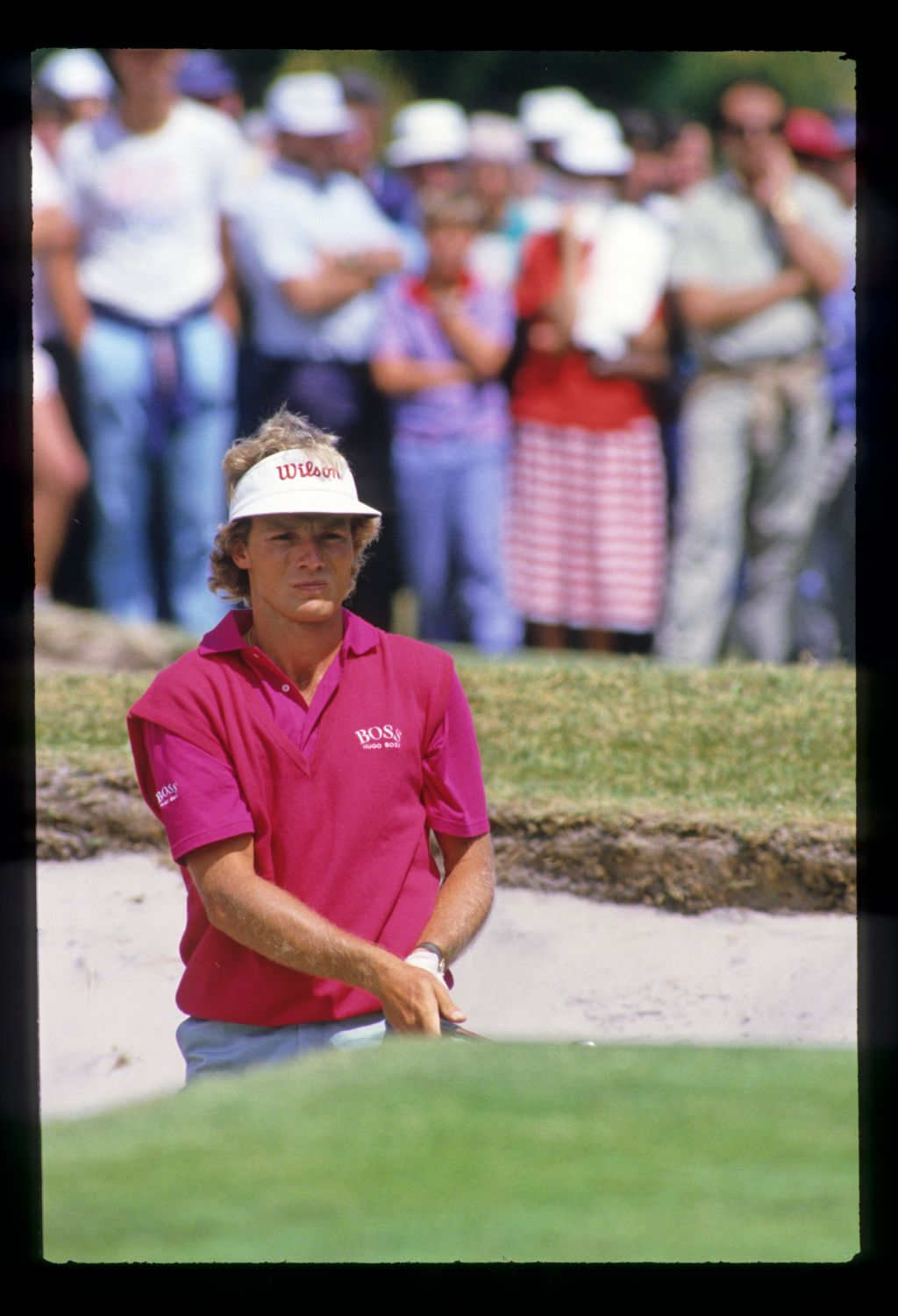 Bernhard Langer watching the result of his bunker shot during the 1986 Australian Masters