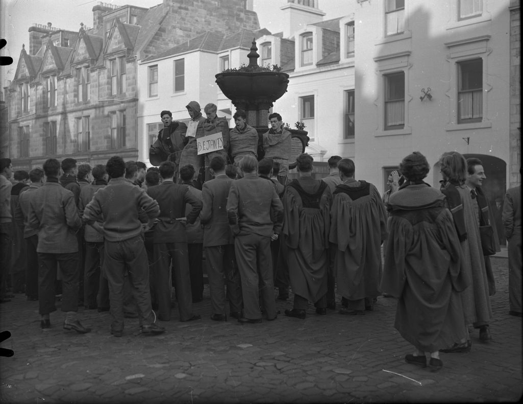 University of St Andrews Students Rag, Raisin Monday, Melville Fountain, Market Street, St Andrews.