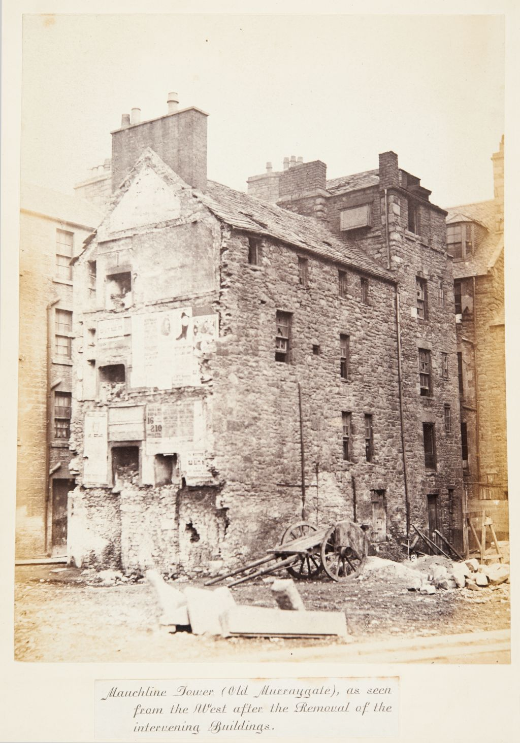 Mauchline Tower (Old Murraygate), as seen from the West after the Removal of the intervening Buildings [Dundee].