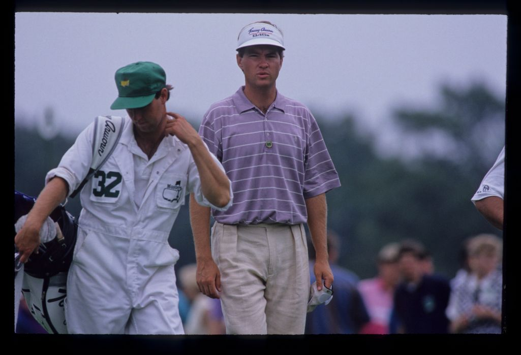 Davis Love III and his caddie on the tee during the 1992 Masters