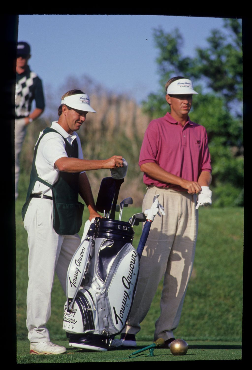 Davis Love III and his caddie preparing to drive on his way to winning the 1992 TPC