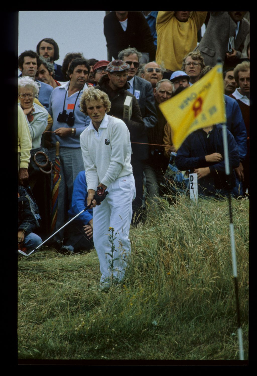 Bernhard Langer finding himself in a spot of bother on the 8th hole on his way to second place during the 1981 Open Championship