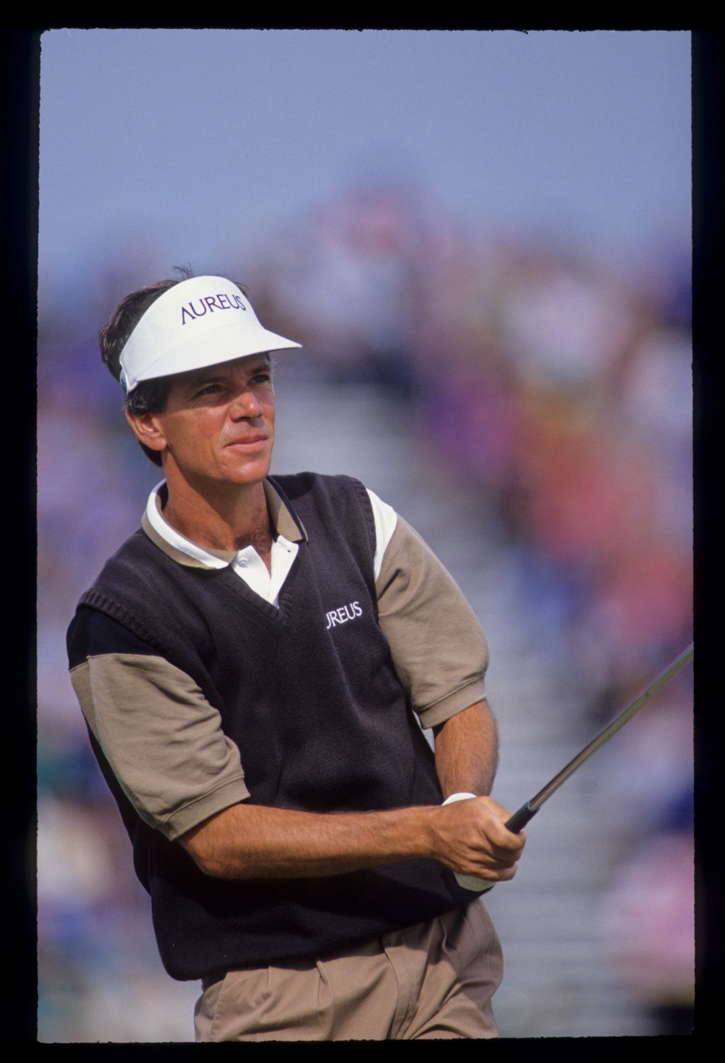 Larry Mize watching his iron shot closely during the 1992 Open Championship