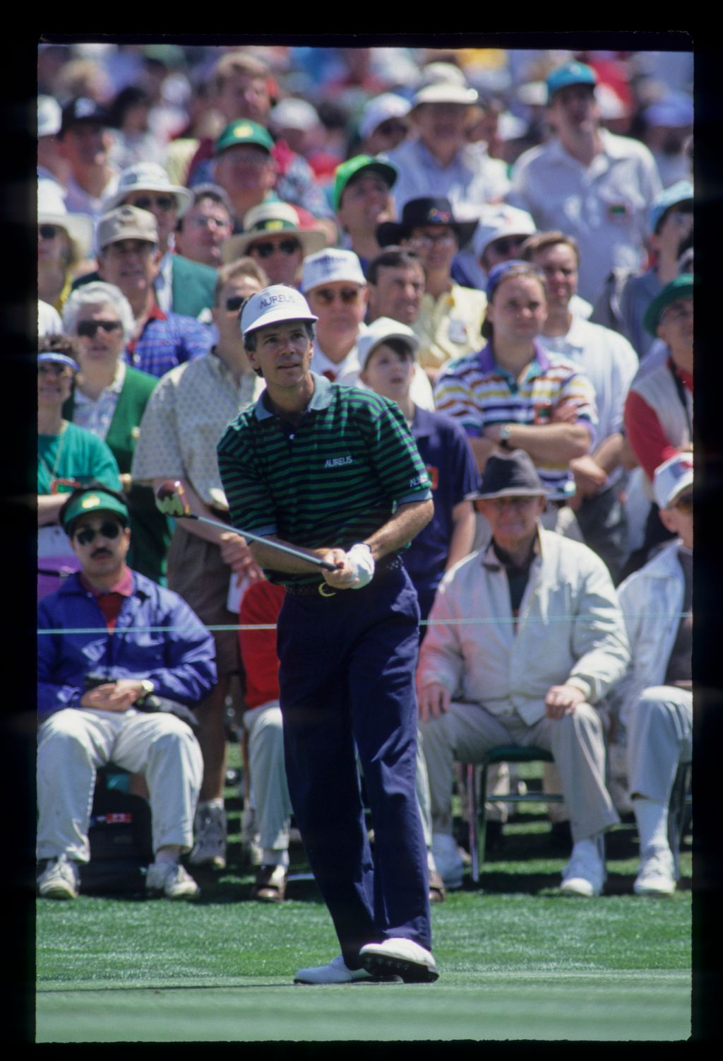 Larry Mize watching his drive closely during the 1993 Masters
