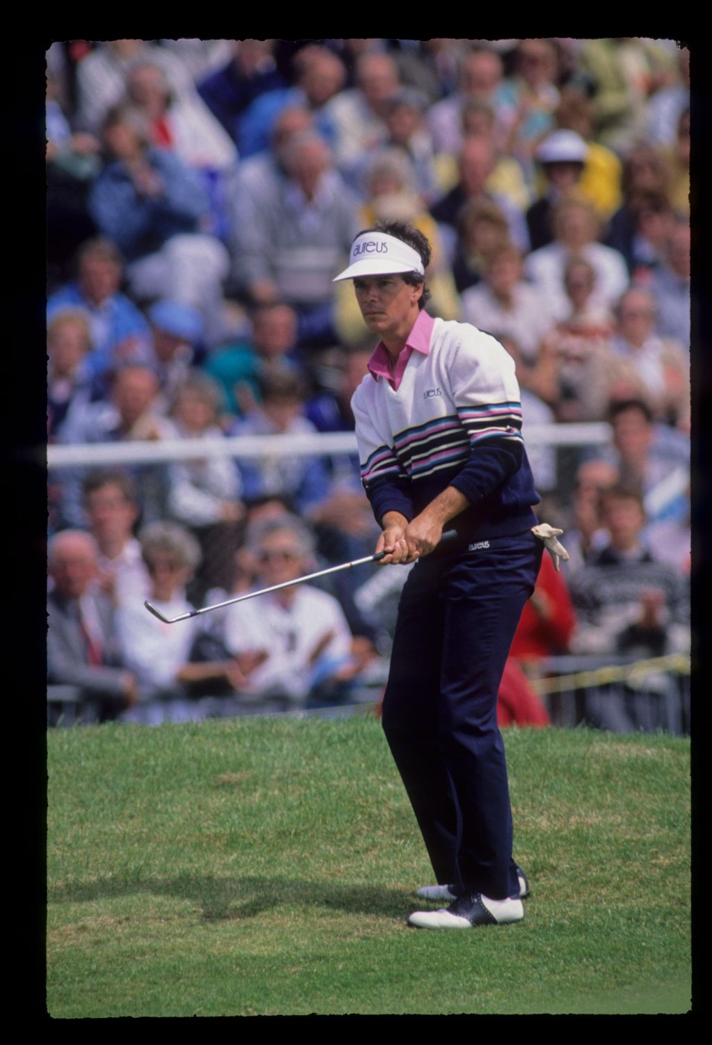 Larry Mize chipping from the semi rough during the 1988 Open Championship