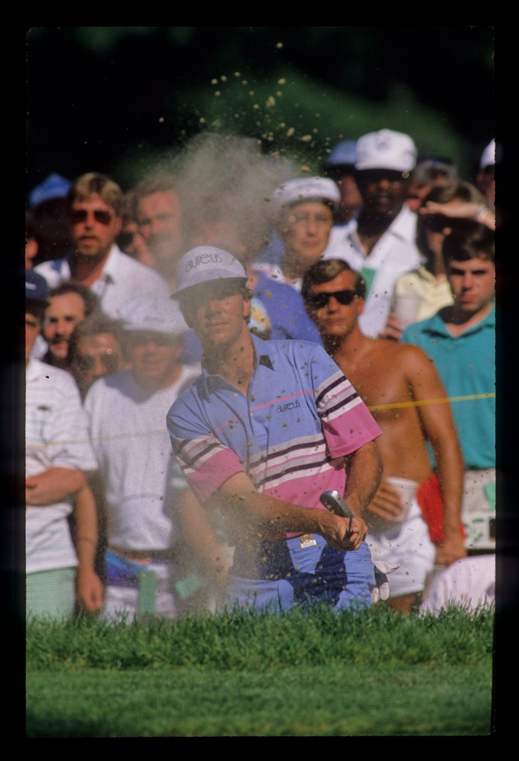 Larry Mize splashing from a bunker during the 1988 US Open