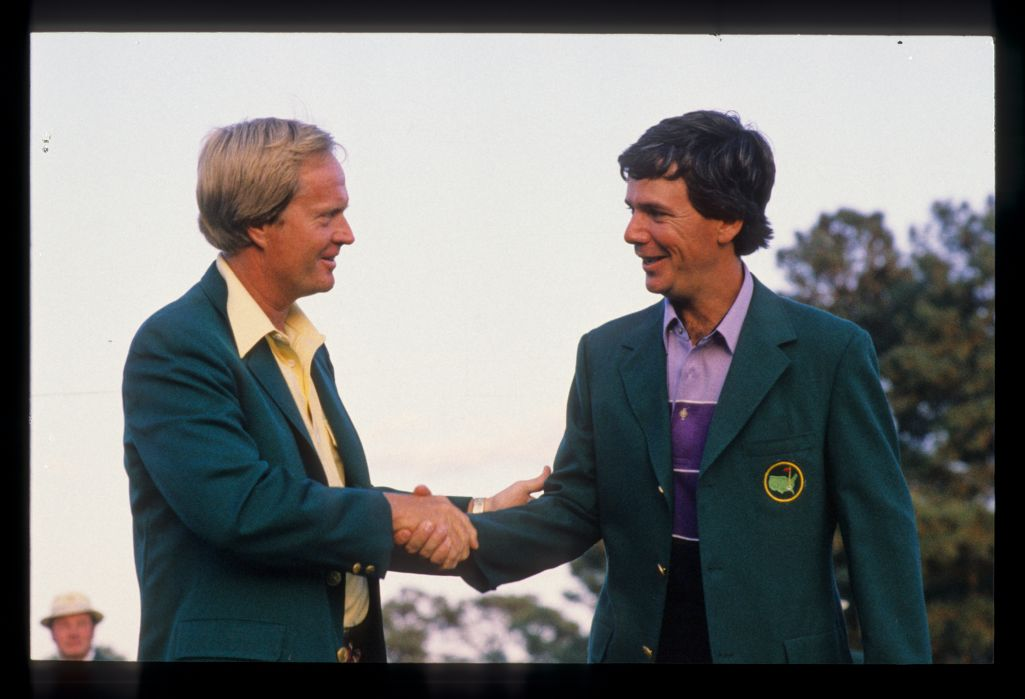 Defending champion Jack Nicklaus congratulating Larry Mize after winning the 1987 Masters