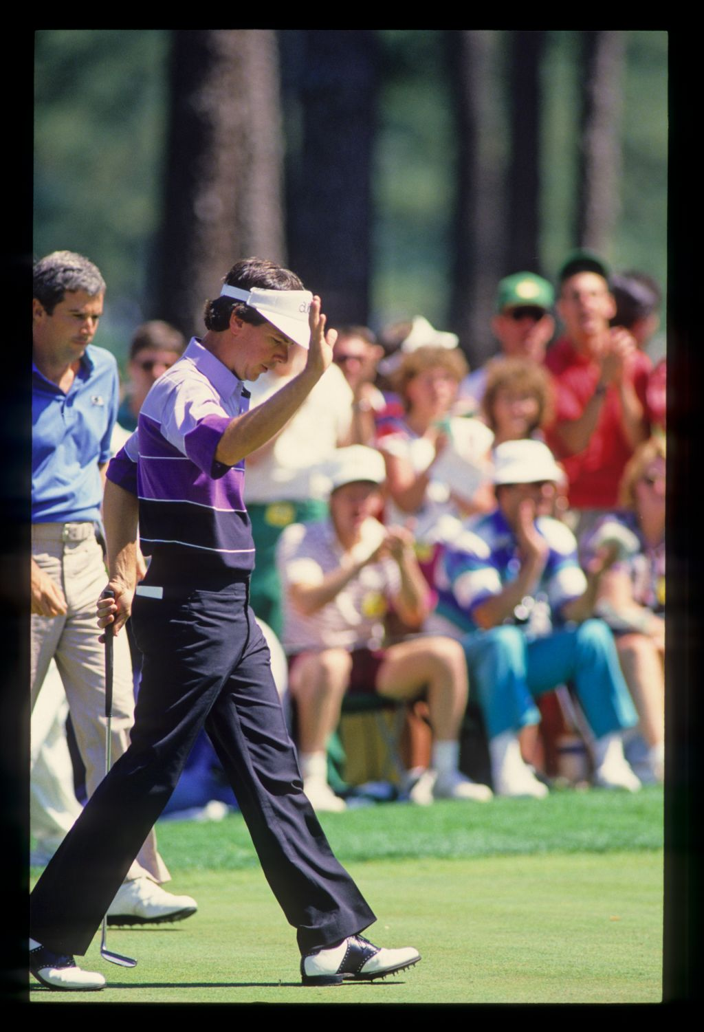 Larry Mize acknowledging the crowd on his way to winning the 1987 Masters