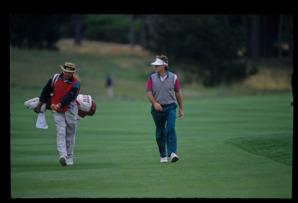Gil Morgan and his caddie on the fairway during the 1992 US Open