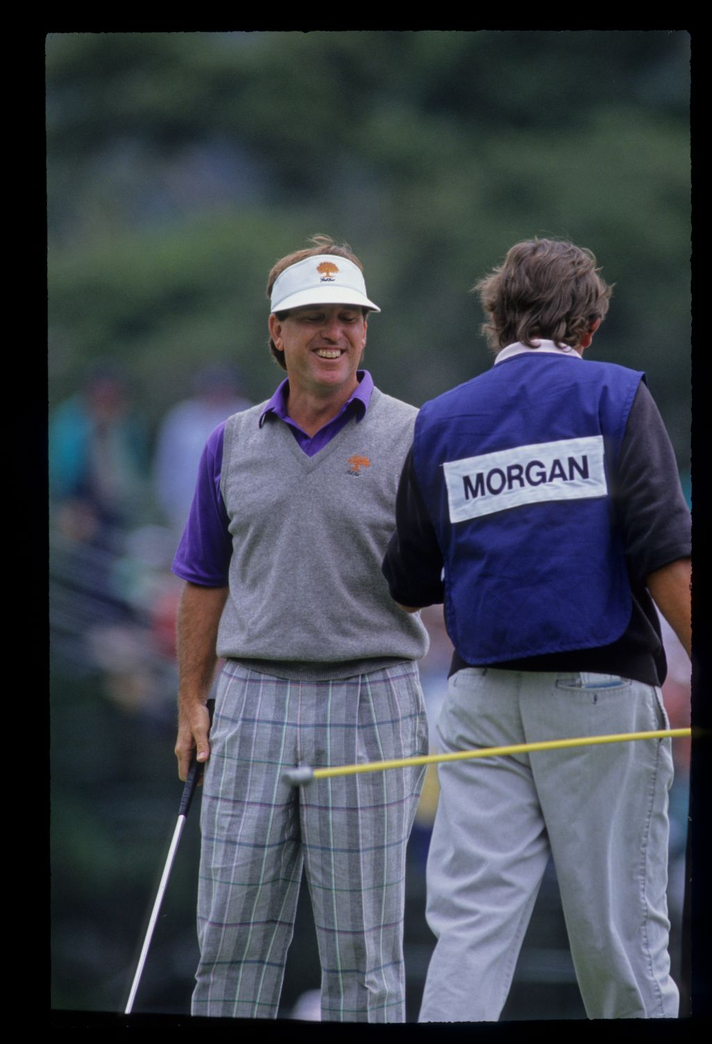 Gil Morgan smiling with his caddie during the 1992 US Open