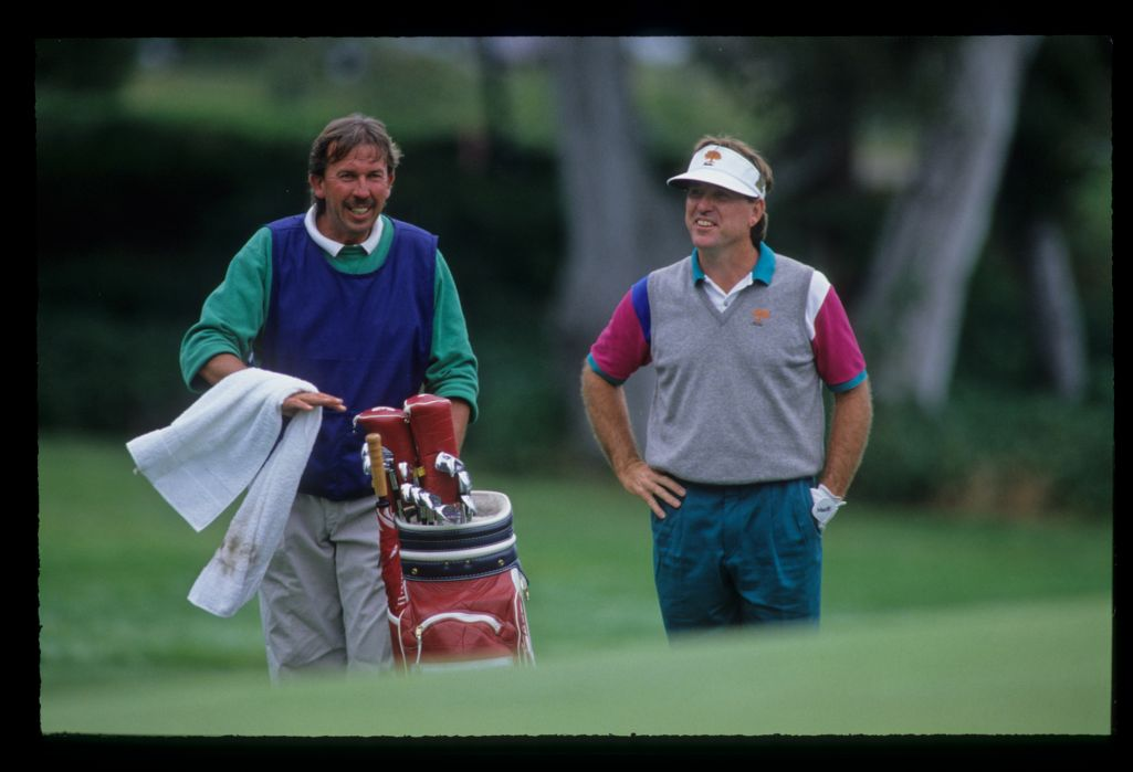 Gil Morgan and his caddie considering an upcoming chip to the green during the 1992 US Open