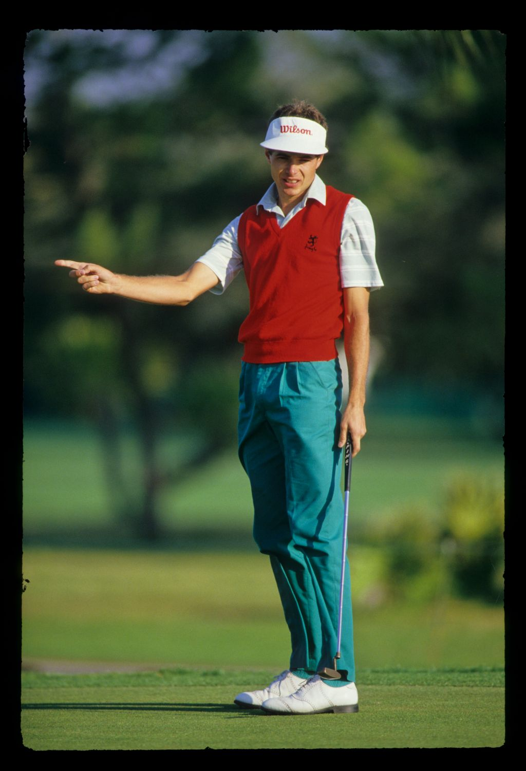 Philip Parkin gesturing after a putt during the 1987 Hertz Bay Hill Classic