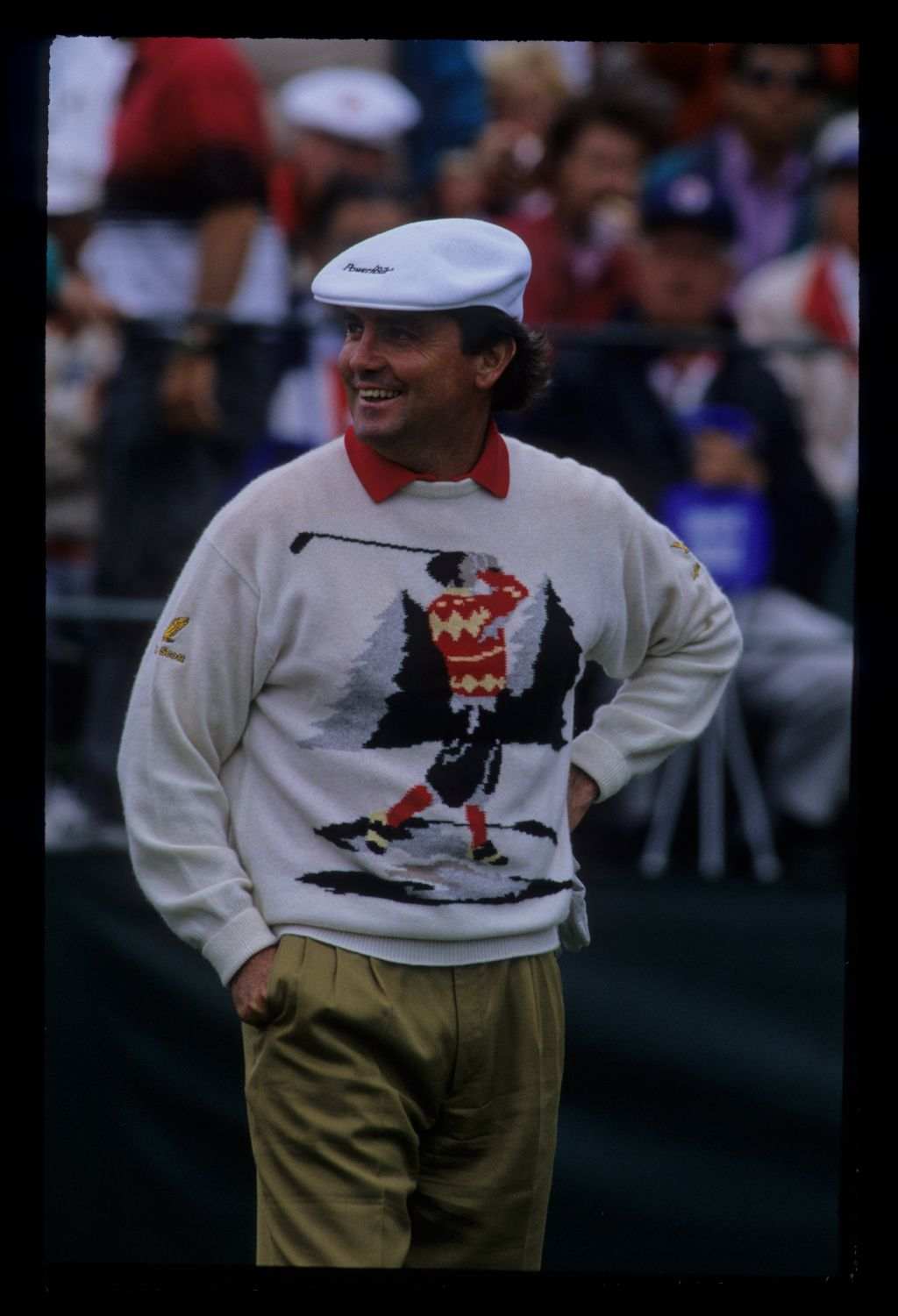 Mark McNulty in a dubious jumper during the 1992 US Open