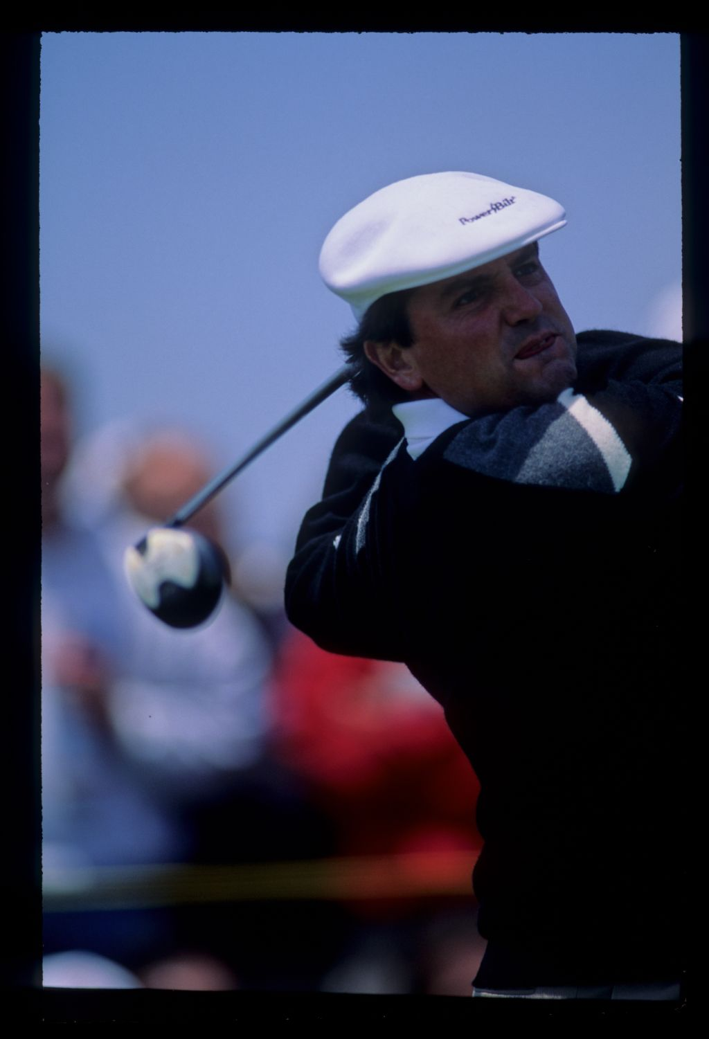 Mark McNulty watching a shot closely during the 1992 US Open