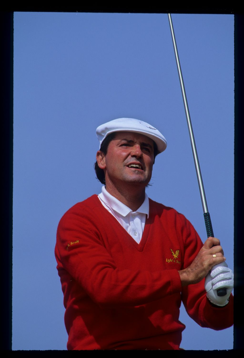 Mark McNulty watching closely from the tee during the 1992 Open Championship