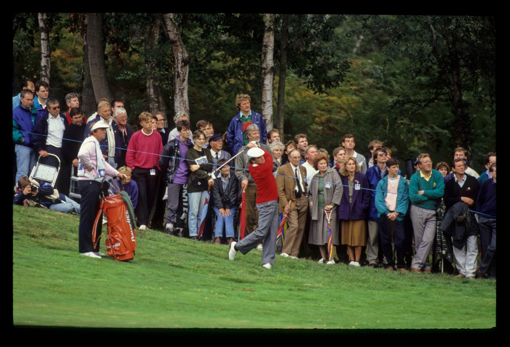 Mark McNulty following through in the rough on his way to second place during the 1990 Suntory World Matchplay