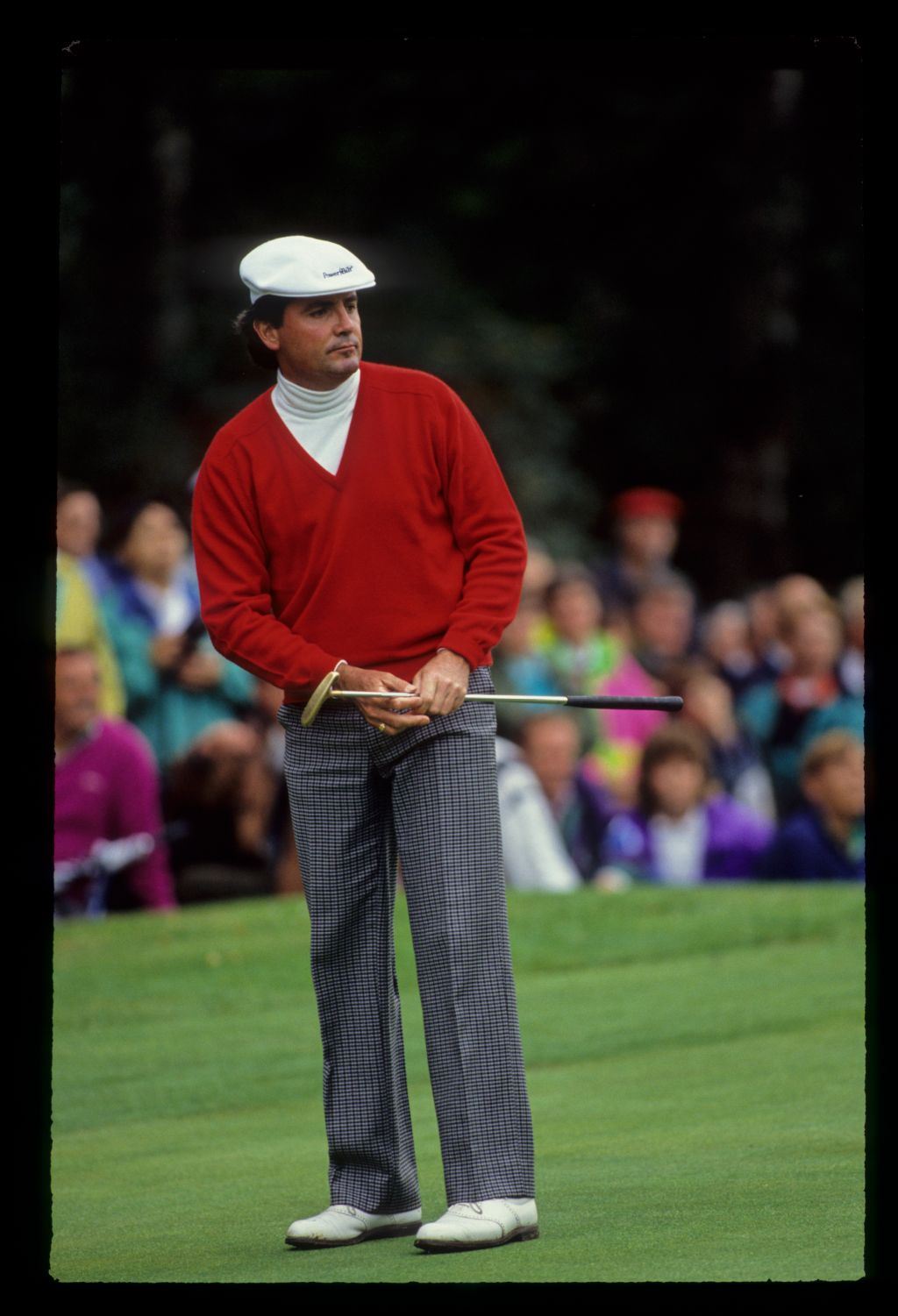 Mark McNulty watching closely after putting on his way to second place during the 1990 Suntory World Matchplay