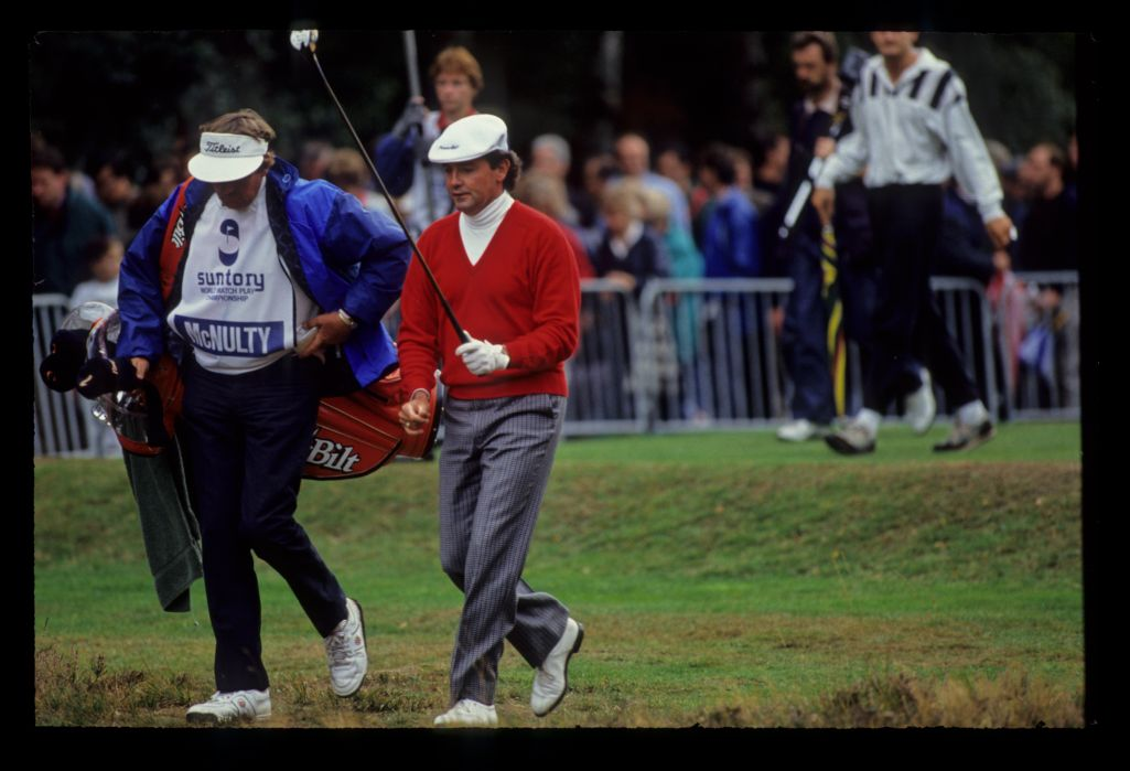 Mark McNulty and his caddie leaving the tee on his way to second place during the 1990 Suntory World Matchplay