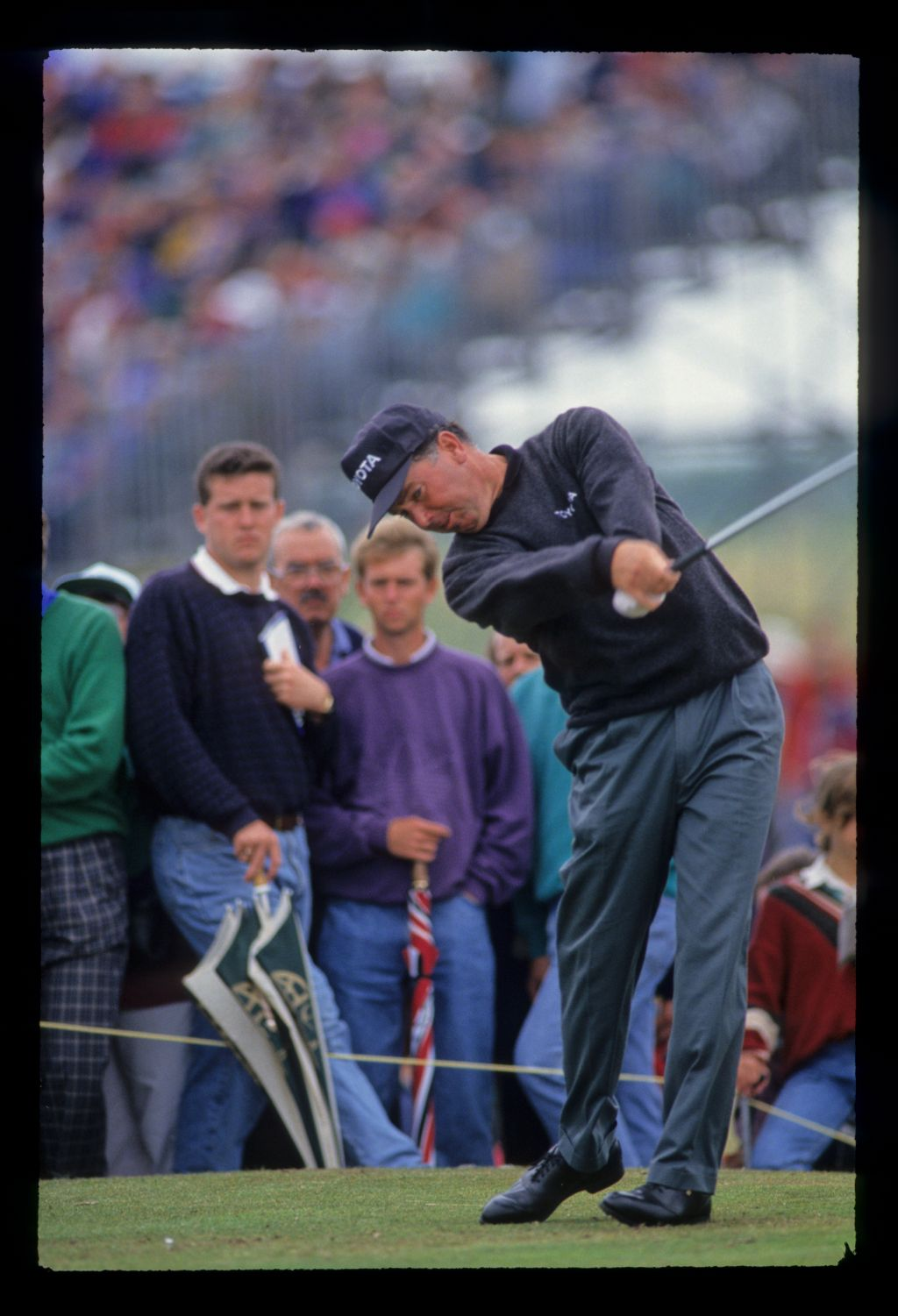 Mark O'Meara extending through the ball on the tee during the 1993 Open Championship