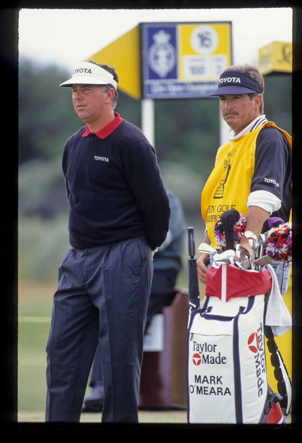 Mark O'Meara and his caddie on the tee during the 1992 Open Championship