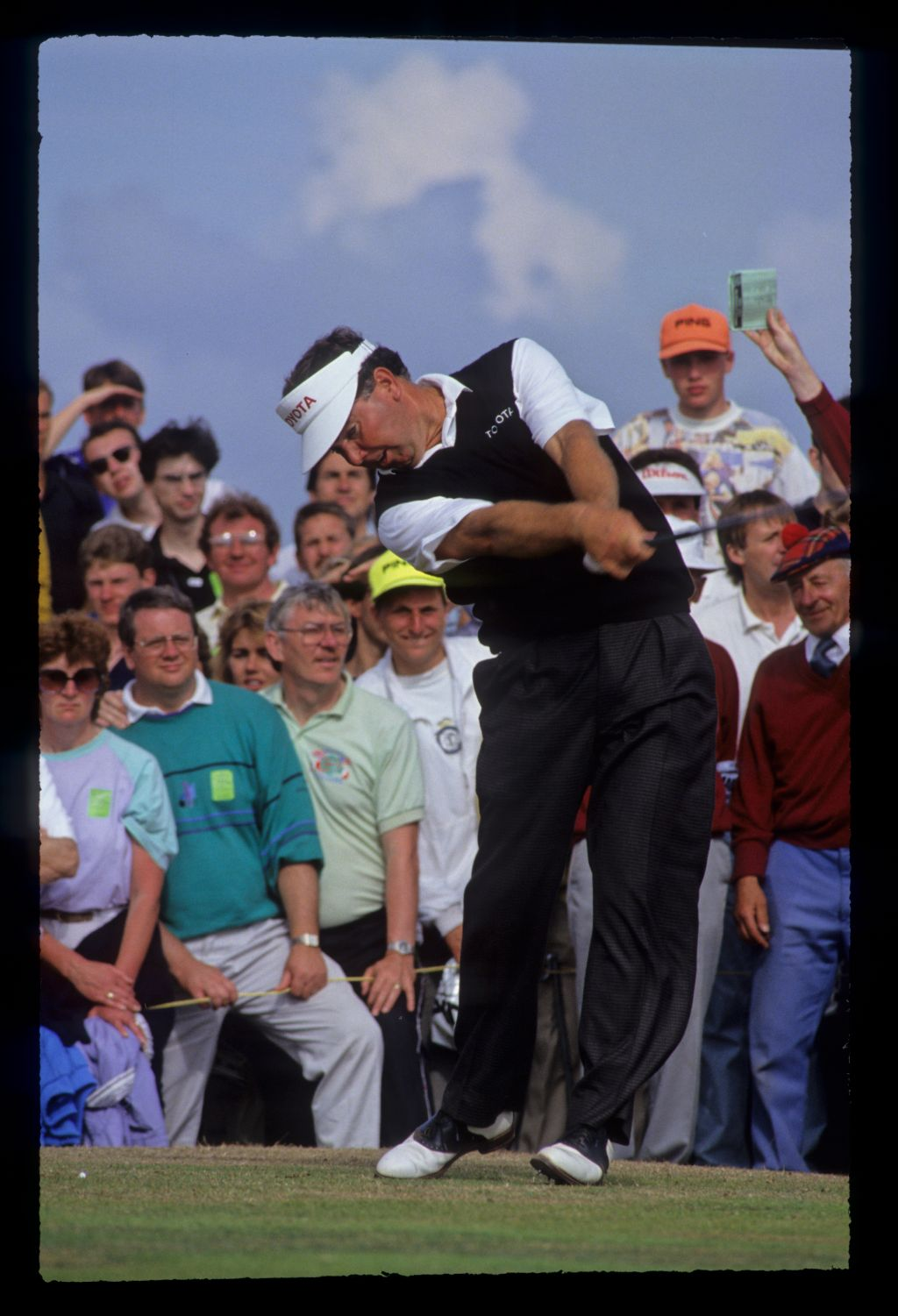 Mark O'Meara following through on the tee during the 1991 Open Championship