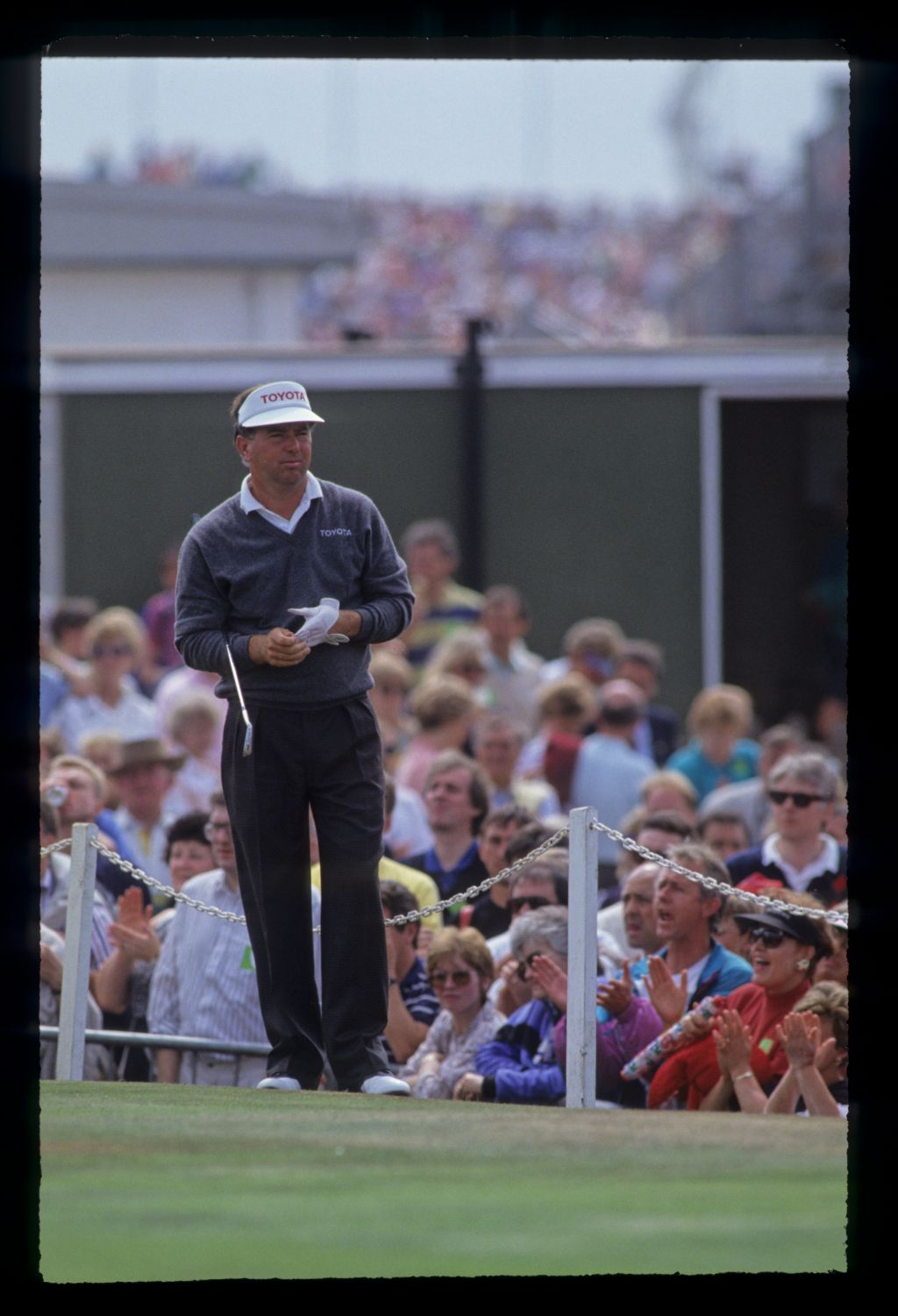 Mark O'Meara looking determined on the tee during the 1991 Open Championship