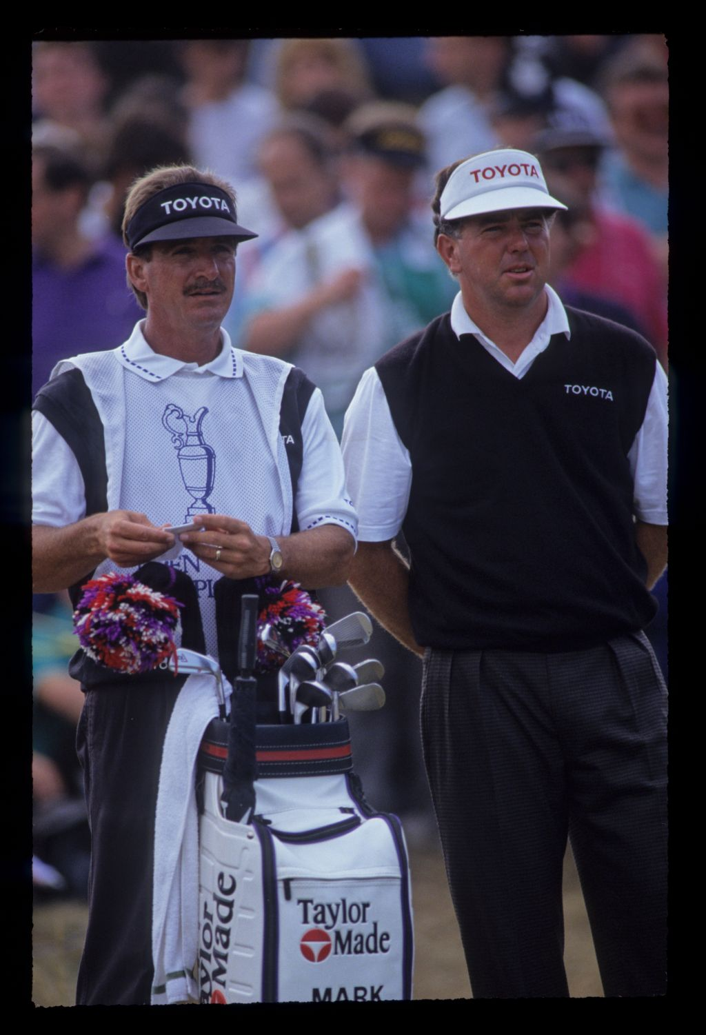 Mark O'Meara and his caddie considering their options on the tee during the 1991 Open Championship