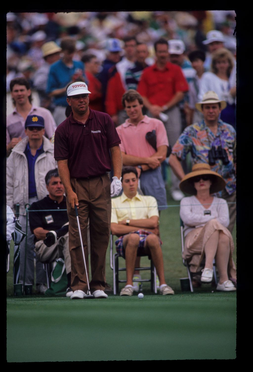 Mark O'Meara preparing to hit from the tee during the 1991 Masters