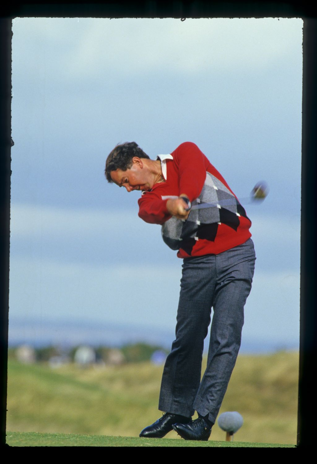 Mark O'Meara just after impact during the 1986 Dunhill Cup