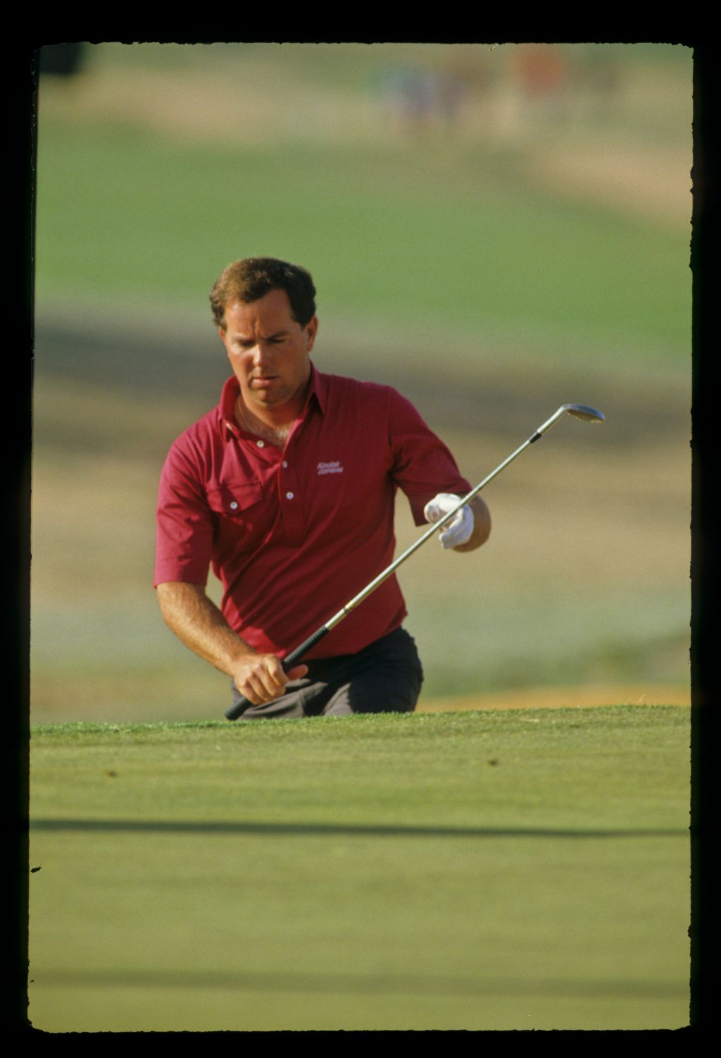 Mark O'Meara reacting to a bunker shot on his way to sixth place during the 1987 Phoenix Open