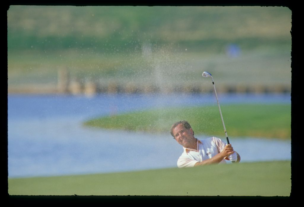 Mark O'Meara splashing from a bunker on his way to sixth place during the 1987 Phoenix Open