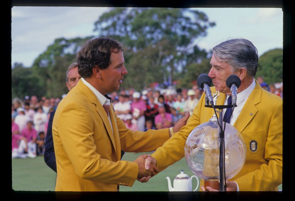 Mark O'Meara being congratulated by an official after winning the 1986 Australian Masters