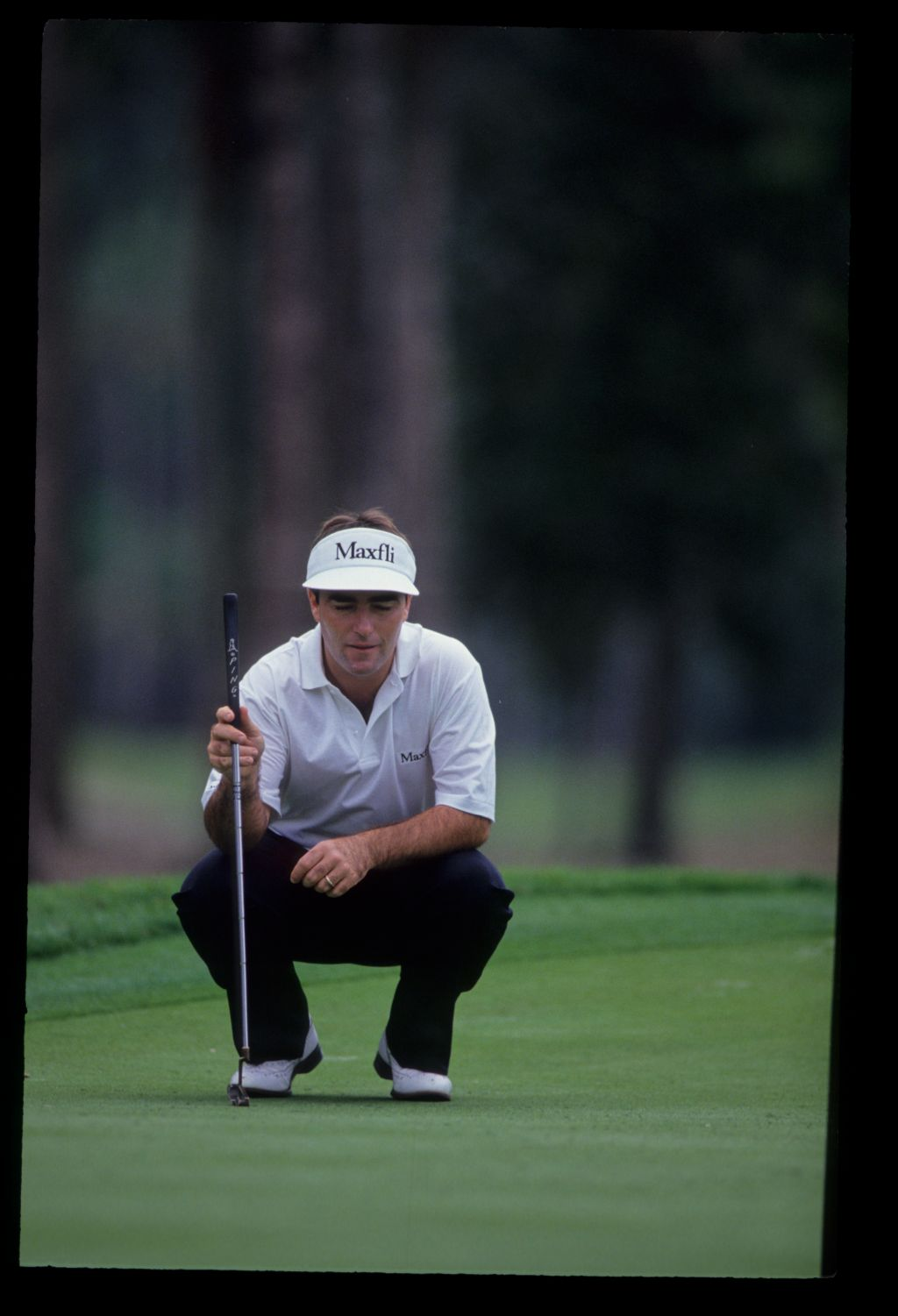 Craig Parry lining up a putt on his way to sixth place during the 1992 TPC
