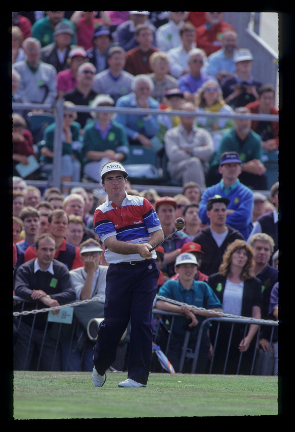 Craig Parry watching closely from the tee on his way to eighth place during the 1991 Open Championship