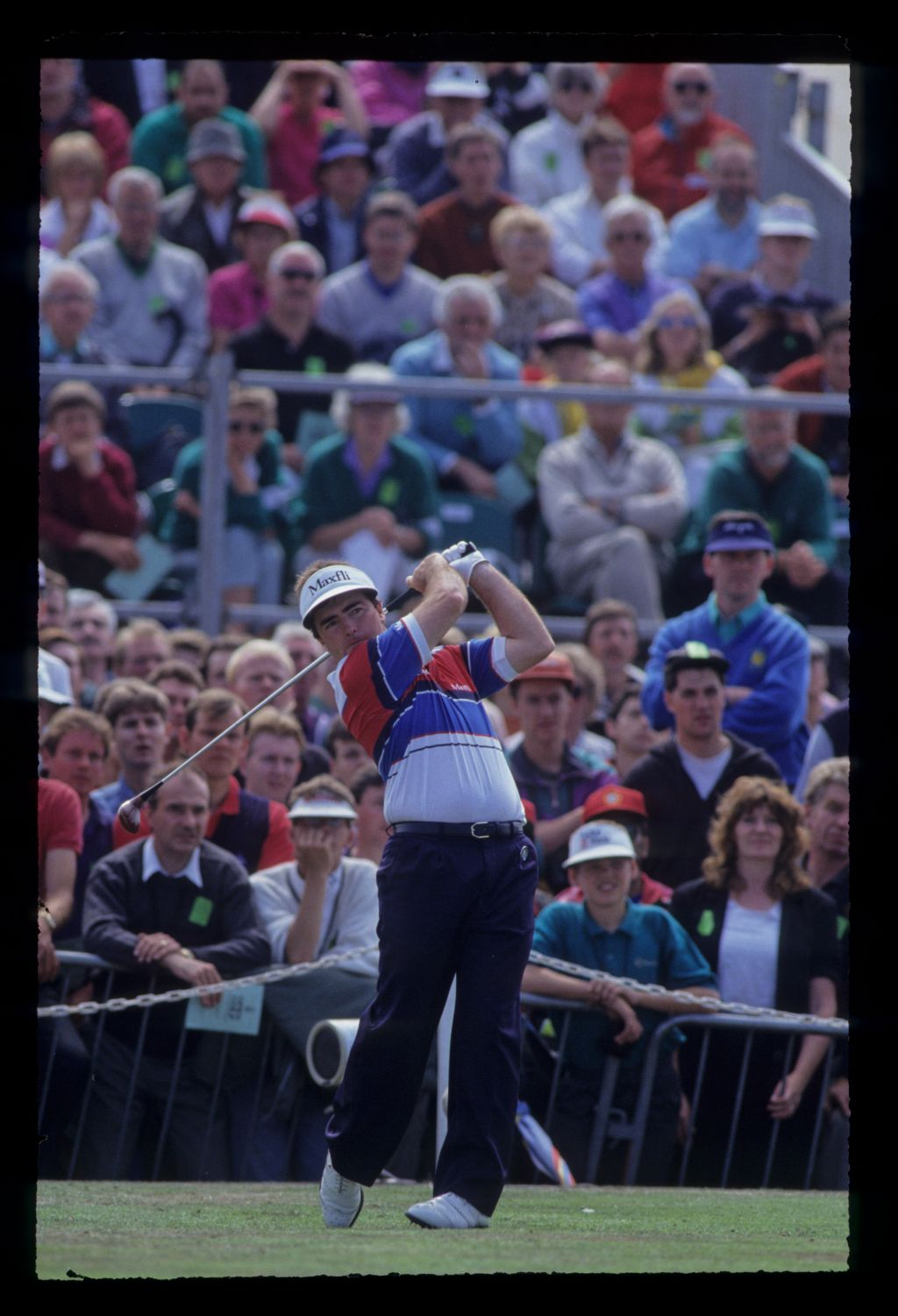 Craig Parry following through on the tee on his way to eighth place during the 1991 Open Championship
